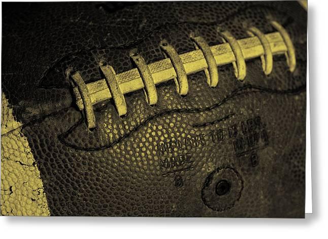 Football Closeup Greeting Cards - Vintage Football 4 Greeting Card by David Patterson