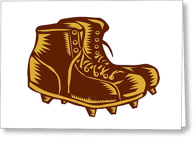 Vintage Football Boots Woodcut Greeting Card by Aloysius Patrimonio