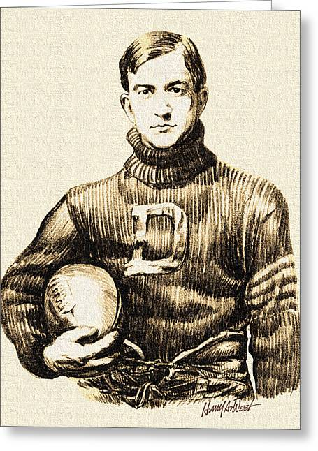 Vintage Football Greeting Card by Harry West
