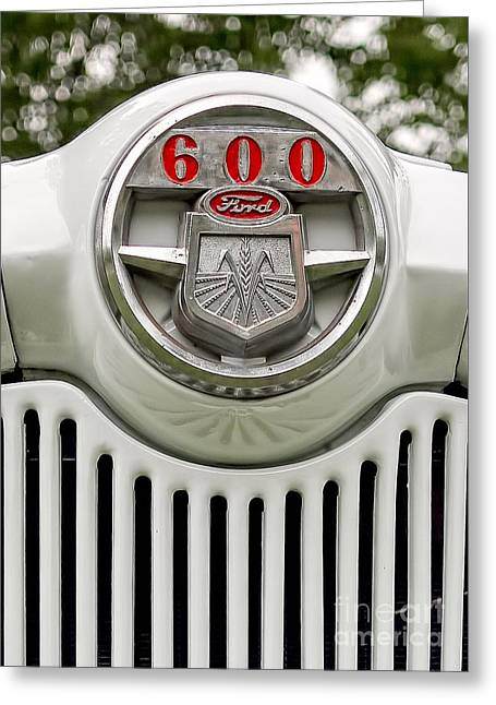 Bestsellers Greeting Cards - Vintage Ford 600 Nameplate Emblem Greeting Card by Edward Fielding