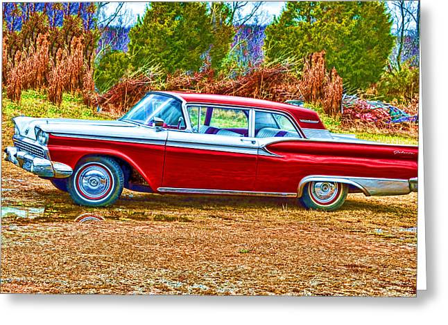 Vintage Ford Galaxie Greeting Card by Lesa Fine