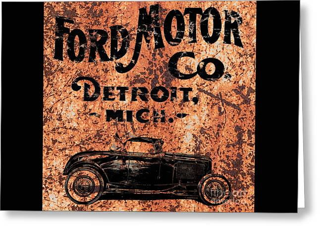 Ford Model T Car Greeting Cards - Vintage Ford Motor Company Greeting Card by Edward Fielding