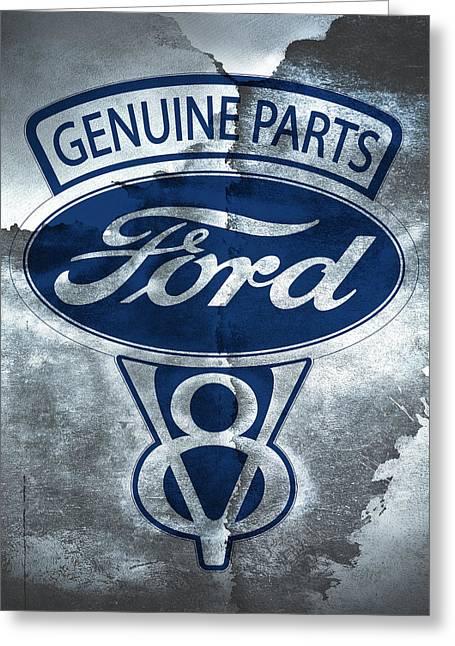 Vintage Ford V8  Greeting Card by Mark Rogan