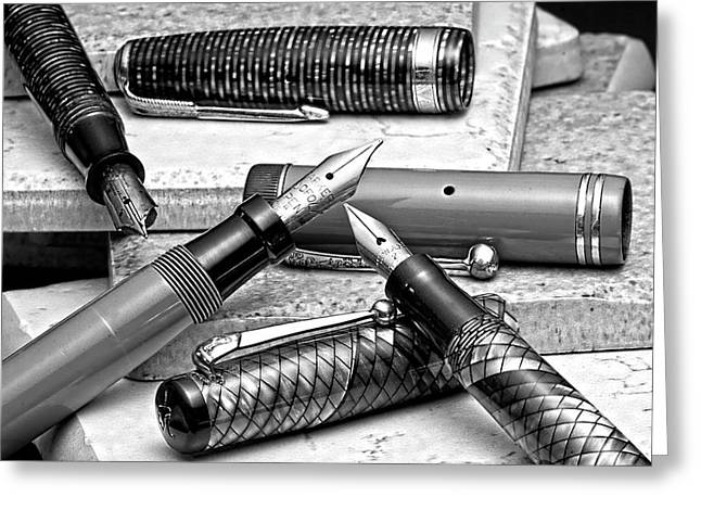 Pen Photographs Greeting Cards - Vintage Fountain Pens Greeting Card by Tom Mc Nemar
