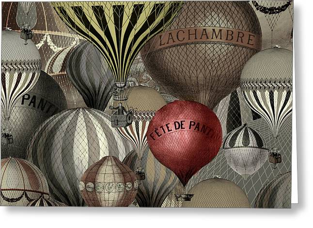 Vintage Transportation Greeting Cards - Vintage French Air Balloons Greeting Card by Mindy Sommers