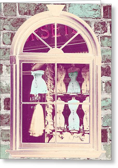 Vintage Fashion Greeting Cards - Vintage French Corset Shop Greeting Card by Mindy Sommers