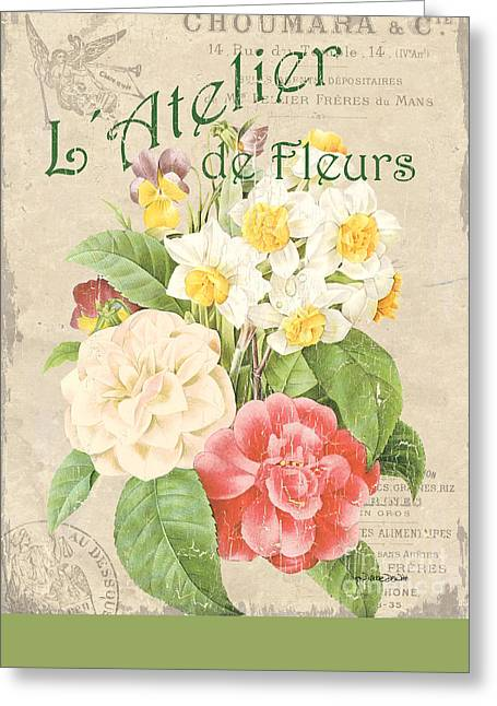 Dahlias Greeting Cards - Vintage French Flower Shop 1 Greeting Card by Debbie DeWitt