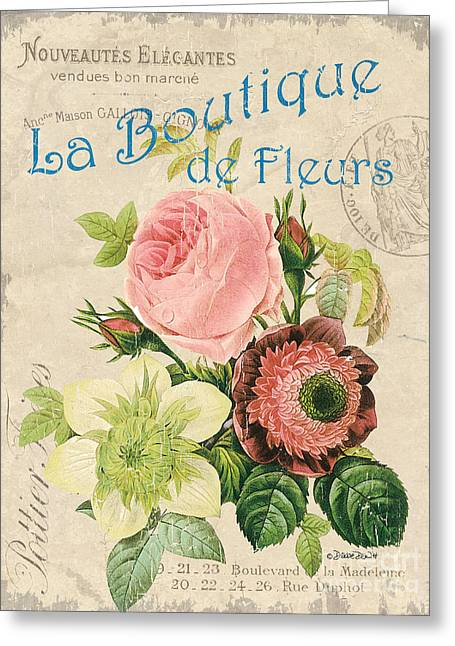 Vintage French Flower Shop 2 Greeting Card by Debbie DeWitt