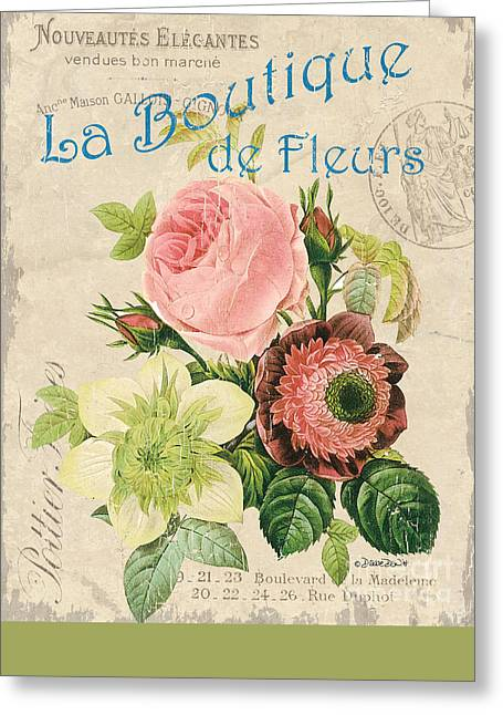 Boutique Design Greeting Cards - Vintage French Flower Shop 2 Greeting Card by Debbie DeWitt