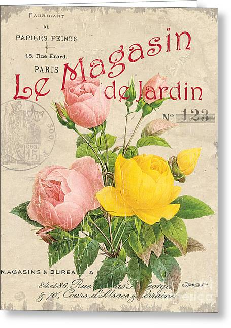 Vintage French Flower Shop 3 Greeting Card by Debbie DeWitt