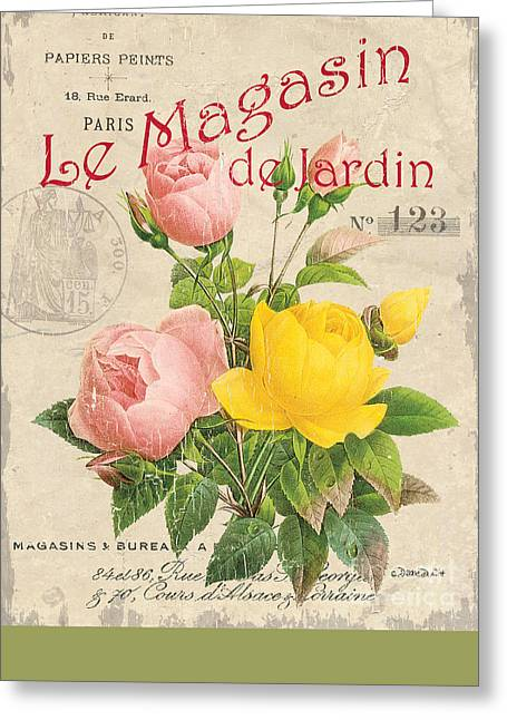 Boutique Design Greeting Cards - Vintage French Flower Shop 3 Greeting Card by Debbie DeWitt