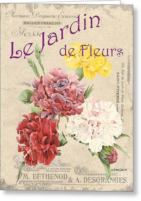 Vintage French Flower Shop 4 Greeting Card by Debbie DeWitt