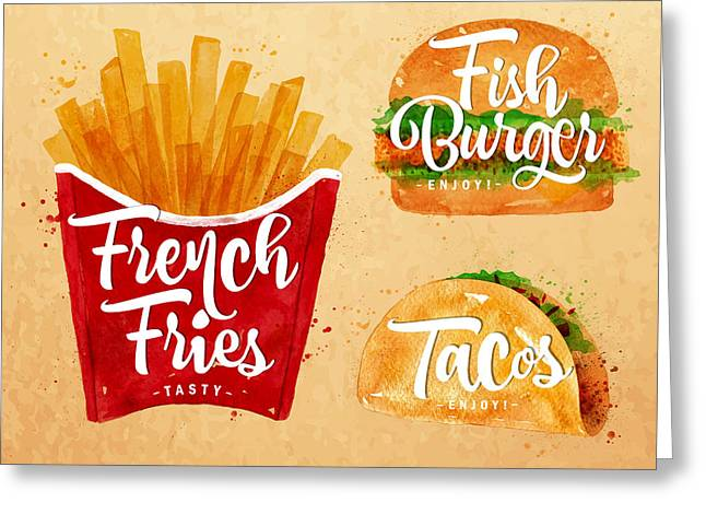 Vintage French Fries Greeting Card by Aloke Design