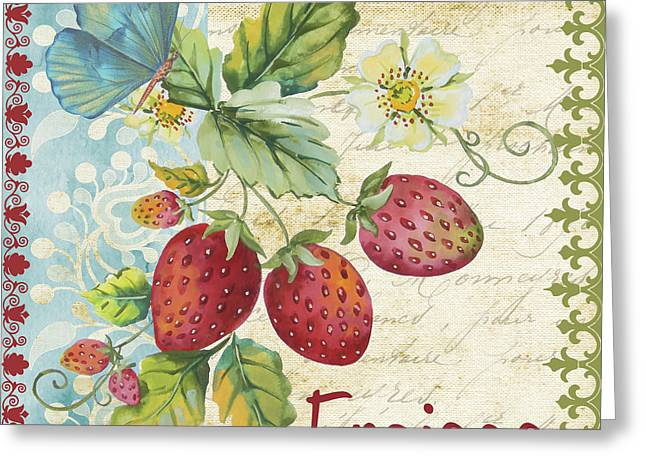 Hand Script Greeting Cards - Vintage French fruit-JP3108 Greeting Card by Jean Plout
