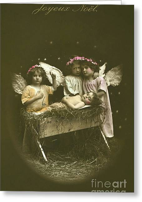 Vintage French Nativity Christmas Card Greeting Card by French School