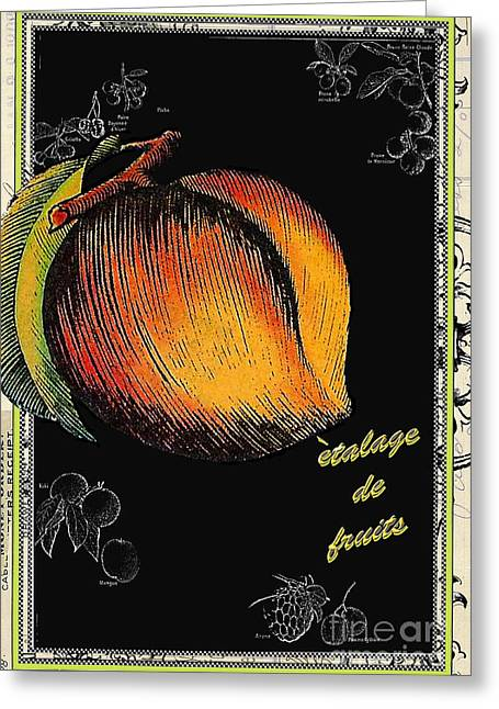 Kitchen Licensing Mixed Media Greeting Cards - Vintage French Peach Greeting Card by Anahi DeCanio
