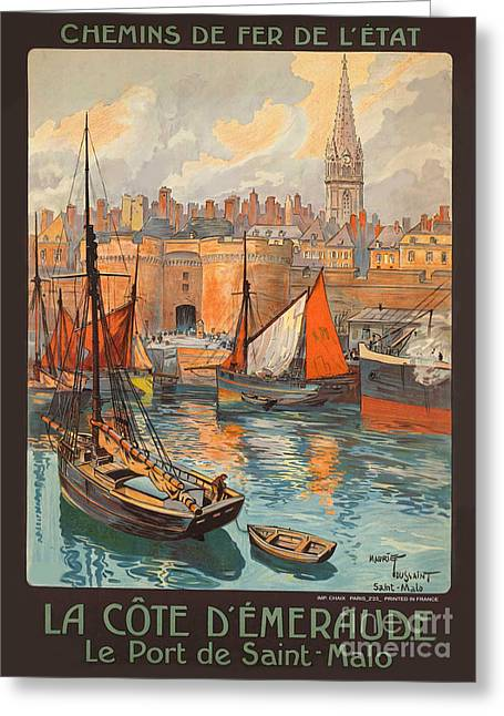 Vintage French Travel Poster 3 Greeting Card by George Pedro