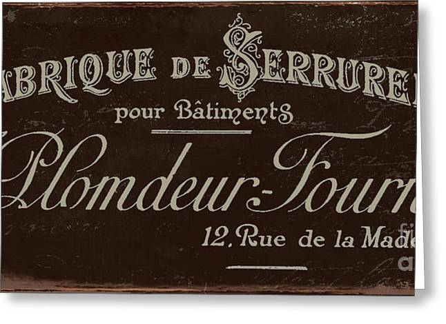 Antiques Sign Greeting Cards - Vintage French Typography Script Sign Greeting Card by Mindy Sommers