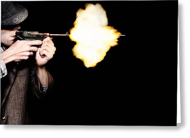 Vintage Gangster Man Shooting Gun On Black Greeting Card by Jorgo Photography - Wall Art Gallery