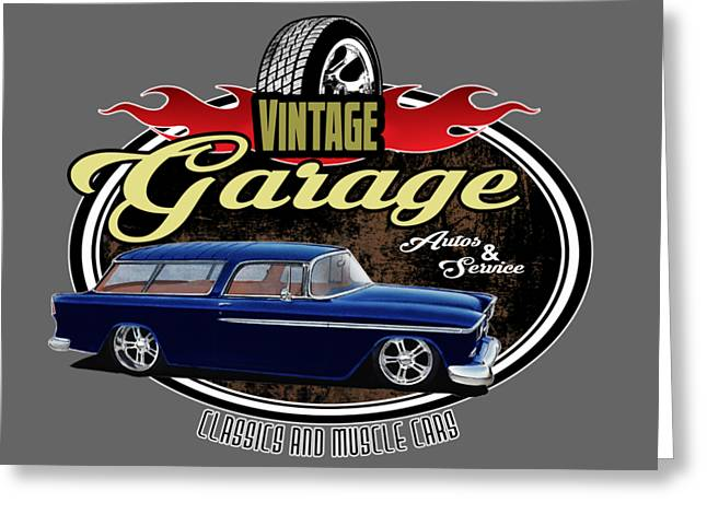 Vintage Garage With Nomad Greeting Card by Paul Kuras