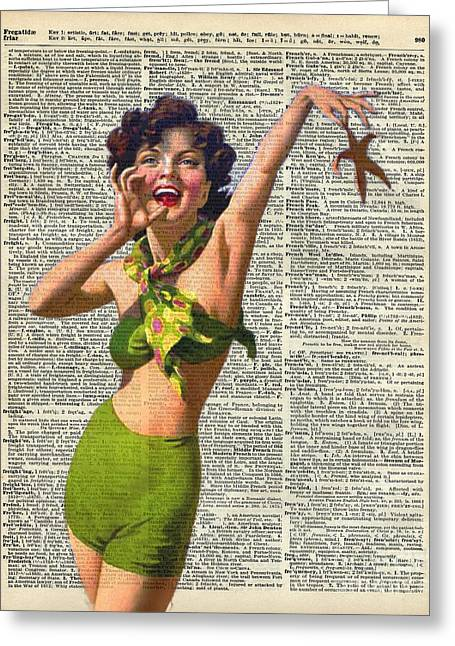 Starfish Posters Greeting Cards - Vintage Girl with a starfish Greeting Card by Jacob Kuch