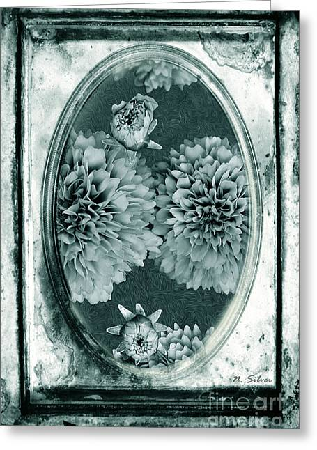 Old Digital Art Greeting Cards - Vintage Glass Cyanoplate Dahlias Greeting Card by Nina Silver