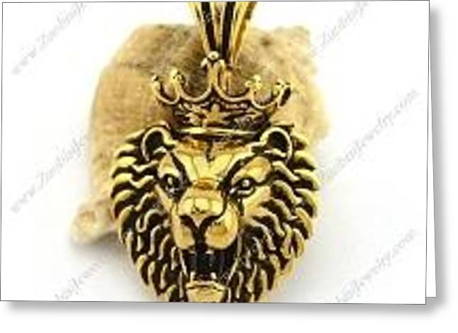 Stainless Steel Greeting Cards - Vintage Gold Plating Lion King Pendant p002890 Greeting Card by ZuoBiSiJewelry