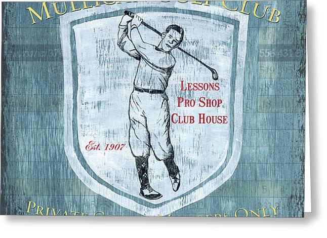 Vintage Golf Blue 1 Greeting Card by Debbie DeWitt