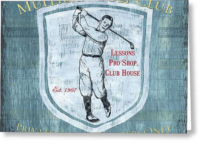 Golf Design Greeting Cards - Vintage Golf Blue 1 Greeting Card by Debbie DeWitt