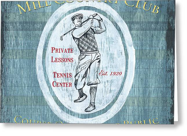 Hitting Greeting Cards - Vintage Golf Blue 2 Greeting Card by Debbie DeWitt