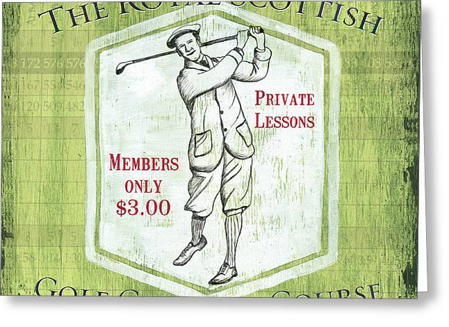 Golf Design Greeting Cards - Vintage Golf Green 1 Greeting Card by Debbie DeWitt
