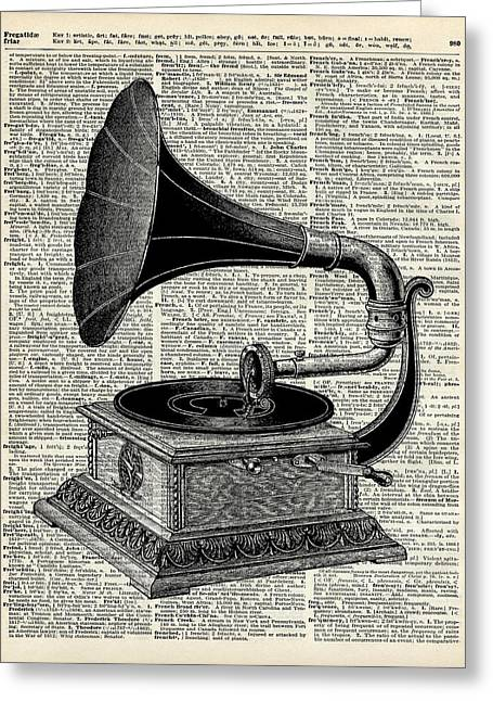 Kitchen Wall Drawings Greeting Cards - Vintage gramophone Greeting Card by Jacob Kuch
