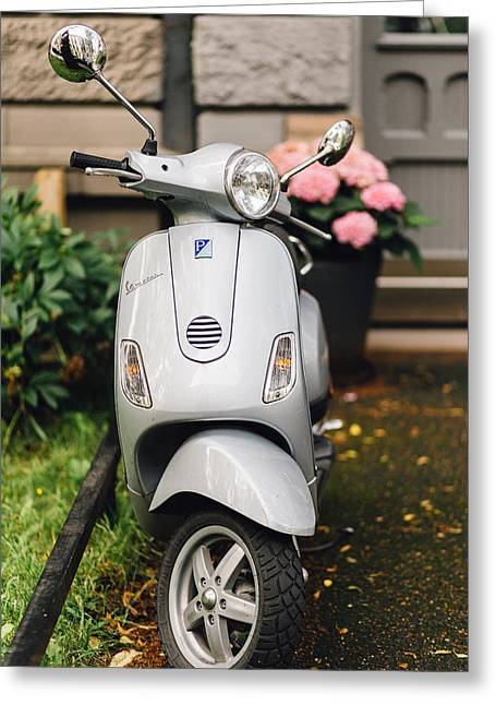 Vintage Grey Vespa,old Fashioned Italian Motorbike, Is Parked On The Street Sideway Greeting Card by Aldona Pivoriene