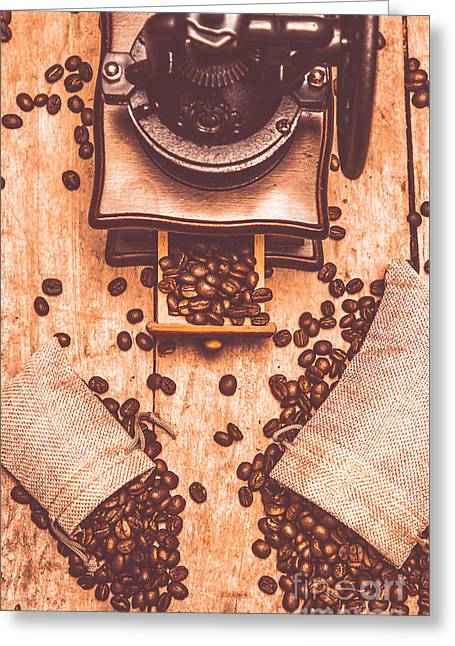 Vintage Grinder With Sacks Of Coffee Beans Greeting Card by Jorgo Photography - Wall Art Gallery