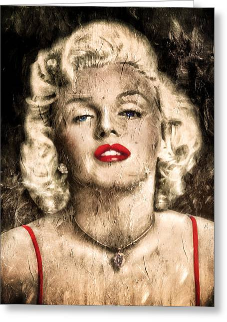 Traditional Media Greeting Cards - Vintage Grunge Goddess Marilyn Monroe  Greeting Card by Georgiana Romanovna
