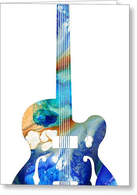 Blue Grass Greeting Cards - Vintage Guitar - Colorful Abstract Musical Instrument Greeting Card by Sharon Cummings