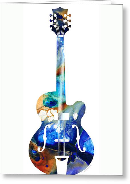 Rock Guitar Player Greeting Cards - Vintage Guitar - Colorful Abstract Musical Instrument Greeting Card by Sharon Cummings