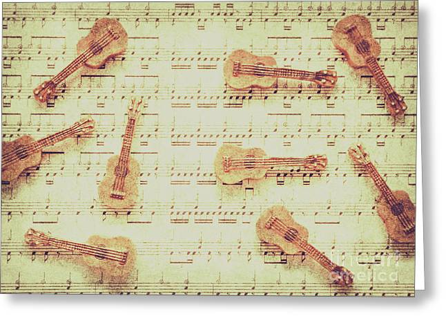 Vintage Guitar Music Greeting Card by Jorgo Photography - Wall Art Gallery