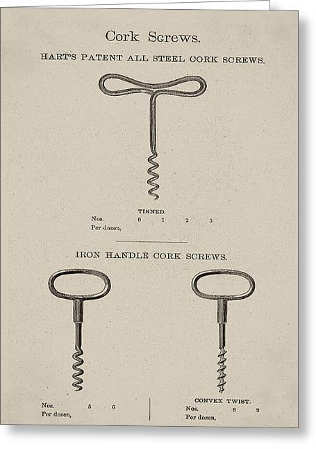 Vintage Hart's Patent All Steel Cork Screws Greeting Card by Digital Reproductions