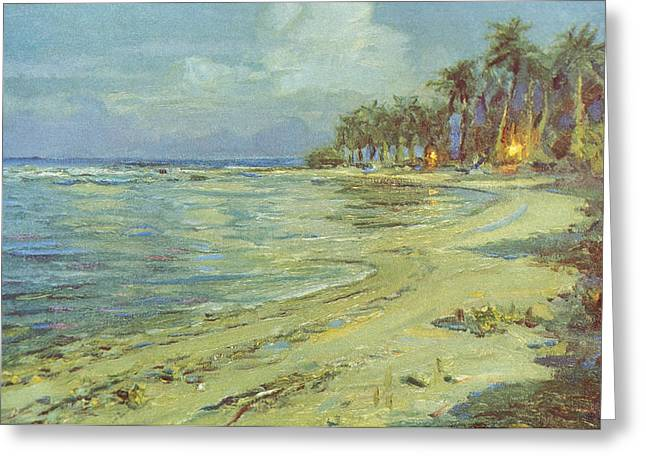 Locations Paintings Greeting Cards - Vintage Hawaiian Art Greeting Card by Hawaiian Legacy Archive - Printscapes