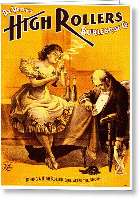 Night Cafe Drawings Greeting Cards - Vintage High Rollers Burlesque Co. - Smoking Greeting Card by Just Eclectic