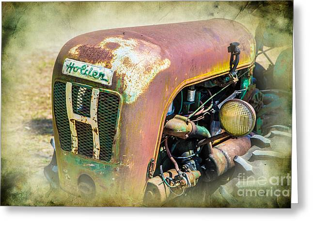 Dynamos Greeting Cards - Vintage Holder Tractor Greeting Card by Darrell Hutto