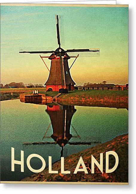 Vintage Holland Windmill Greeting Card by Flo Karp