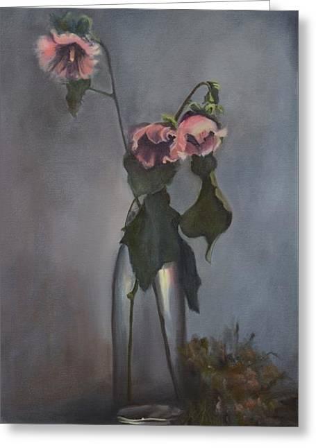 Glass Vase Greeting Cards - Vintage Hollyhocks Greeting Card by Donna Tuten