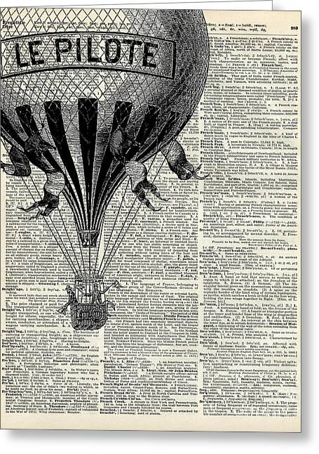 Vintage Hot Air Balloon Illustration,antique Dictionary Book Page Design Greeting Card by Jacob Kuch