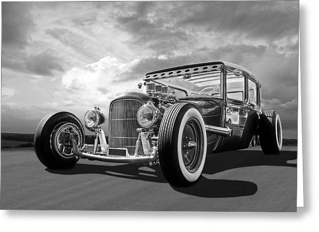 Monochrome Hot Rod Greeting Cards - Vintage Hot Rod in Black and White Greeting Card by Gill Billington