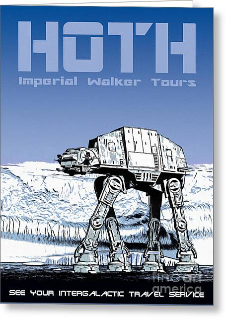 Vintage Hoth Star Wars Travel Poster Greeting Card by Edward Fielding