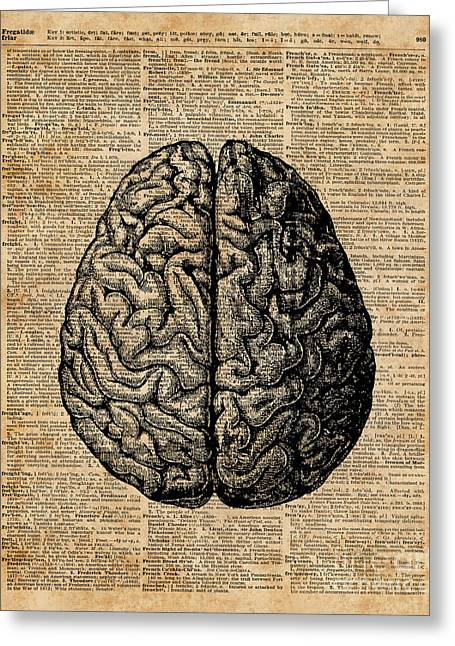 Vintage Human Anatomy Brain Illustration Dictionary Book Page Art Greeting Card by Jacob Kuch