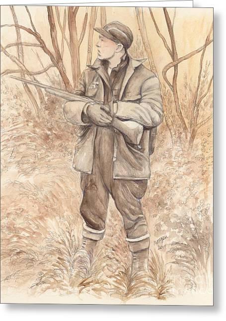 Vintage Hunting Greeting Card by Morgan Fitzsimons