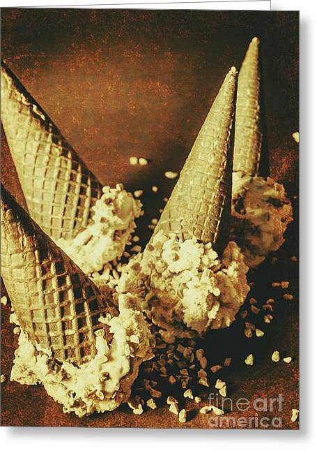 Vintage Ice Cream Cones Still Life Greeting Card by Jorgo Photography - Wall Art Gallery
